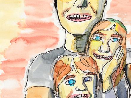 Zeichnung mit Wasserfarbe und Tusche
