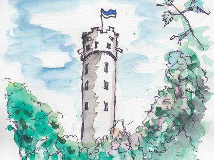 Zeichnung mit Wasserfarbe und Tusche Mehlsack Ravensburg Teaser