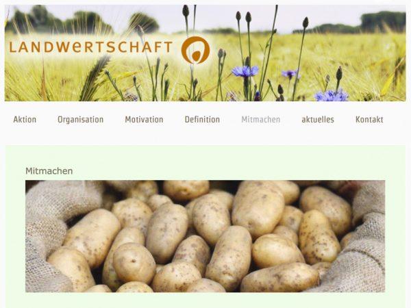 Screenshot Homapage Landwertschaft