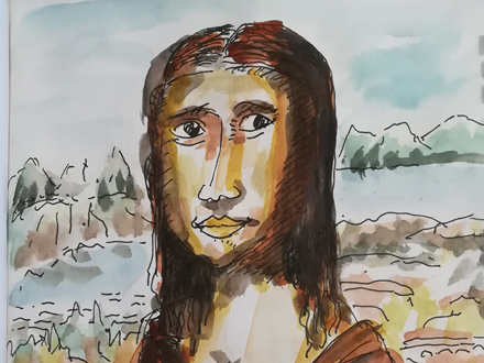 Zeichnung mit Wasserfarbe und Tusche Teaser
